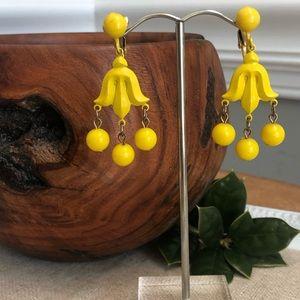 Vintage Yellow Metal Chandelier Style Earrings